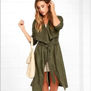 Lulus Army Green Faux Suede Trench Coat